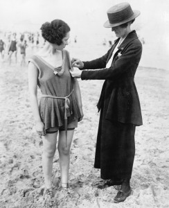 1921 Chicago policewomen checking for violations of the bathing suit-length laws IMAGE: BETTMANN/CORBIS